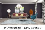 interior of the living room. 3d ... | Shutterstock . vector #1347734513