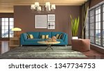 interior of the living room. 3d ... | Shutterstock . vector #1347734753