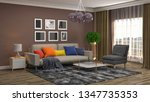 interior of the living room. 3d ... | Shutterstock . vector #1347735353