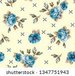 roses pattern with floral... | Shutterstock .eps vector #1347751943