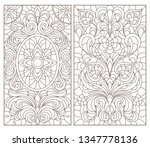 set of contour stained glass... | Shutterstock .eps vector #1347778136