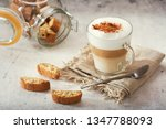 glass of latte coffee with... | Shutterstock . vector #1347788093