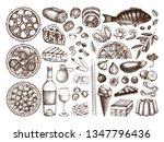 hand drawn italian cuisine... | Shutterstock .eps vector #1347796436