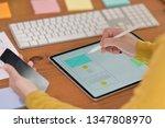 ui designer with tablet...