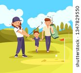 family golf lesson. young... | Shutterstock .eps vector #1347829550