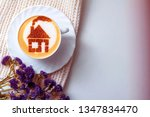 a cup of cappuccino coffee with ... | Shutterstock . vector #1347834470