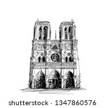 sketch of notre dame cathedral... | Shutterstock .eps vector #1347860576
