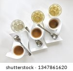 coffee set with white cup on... | Shutterstock . vector #1347861620