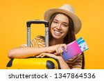travel concept. young happy... | Shutterstock . vector #1347864536
