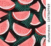 watermelon and tropical leaves... | Shutterstock .eps vector #1347869969
