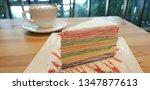 colorful crepe cake in white... | Shutterstock . vector #1347877613