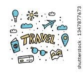 set of travel symbols in doodle ... | Shutterstock .eps vector #1347877673