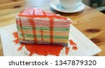 colorful crepe cake with... | Shutterstock . vector #1347879320