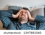 man with sleep problem in his... | Shutterstock . vector #1347881060
