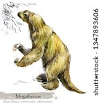 ice age wildlife. prehistoric... | Shutterstock . vector #1347893606