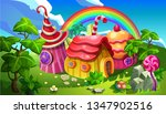 a fairytale gingerbread village ... | Shutterstock .eps vector #1347902516