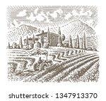 engraving style illustration of ... | Shutterstock .eps vector #1347913370