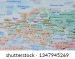 Germany, Poland and other countries of Europe in close up on the map. Focus on the name of country. Vignetting effect.