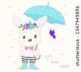 cute little rabbit cartoon hold ... | Shutterstock .eps vector #1347945896