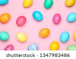 colorful easter eggs on pink... | Shutterstock . vector #1347983486