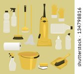 set of cleaning supplies and... | Shutterstock .eps vector #134798816