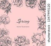 flowers card. hand drawn sketch ... | Shutterstock .eps vector #1347995120