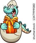 cartoon dinosaur hatching from... | Shutterstock .eps vector #1347999080