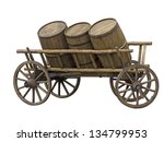 Old Cart With Three Barrels Fo...