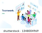 isometric office room with... | Shutterstock .eps vector #1348004969