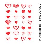 hand drawn hearts. design... | Shutterstock .eps vector #1348007333