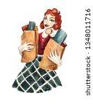 vintage watercolor illustration ... | Shutterstock . vector #1348011716