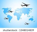 planes map background travel | Shutterstock .eps vector #1348014839