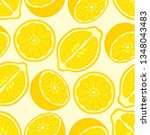 seamless pattern of lemon... | Shutterstock .eps vector #1348043483