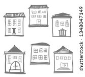 set of doodle cute houses on...   Shutterstock .eps vector #1348047149