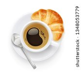 coffee cup and plate. croissant ... | Shutterstock .eps vector #1348053779