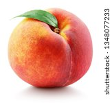 Ripe Whole Peach Fruit With...