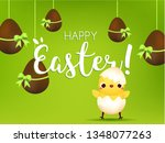 happy easter banner. cute...   Shutterstock . vector #1348077263