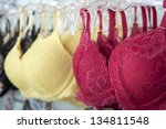 yellow and red bra hanged on... | Shutterstock . vector #134811548