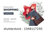 online shopping landing page or ... | Shutterstock .eps vector #1348117250
