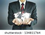 businessman hands carrying... | Shutterstock . vector #134811764