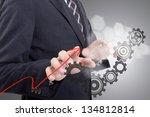 businessman touching button for ... | Shutterstock . vector #134812814