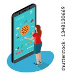 isometric image of online pizza ... | Shutterstock .eps vector #1348130669