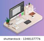 designer's workplace in... | Shutterstock .eps vector #1348137776