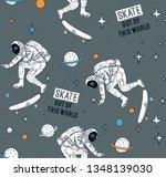 astronaut skateboarding in... | Shutterstock .eps vector #1348139030