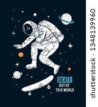 astronaut skateboarding in... | Shutterstock .eps vector #1348139960