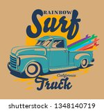 surf boards and surf retro...   Shutterstock .eps vector #1348140719