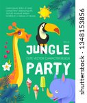 jungle patry. exotic animals... | Shutterstock .eps vector #1348153856