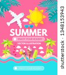 hello. summer  vacation and... | Shutterstock .eps vector #1348153943