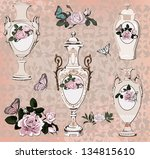 collection of vases  roses and... | Shutterstock .eps vector #134815610