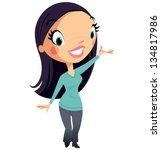 beautiful cartoon woman... | Shutterstock .eps vector #134817986